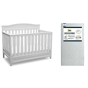 Delta Children Emery 4-in-1 Crib, White + Serta Perfect Slumber Dual Sided Recycled Fiber Core Crib and Toddler Mattress (Bundle)