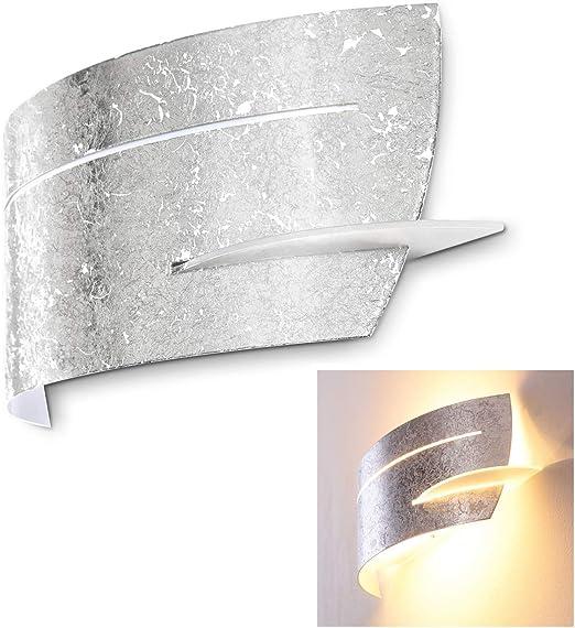 Decken Einbau Wand Leuchte silber Wohnzimmer Glas Beleuchtung rund satiniert G9