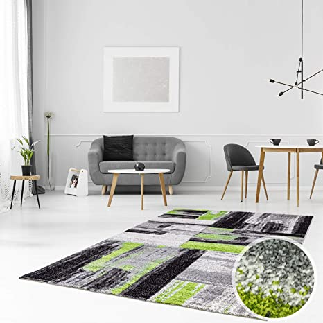CC Teppich Modern Flachflor Konturenschnitt Hand Carving Meliert, Streifen  in Grün Grau für Wohnzimmer, Schlafzimmer, Größe in cm:160 x 230 cm