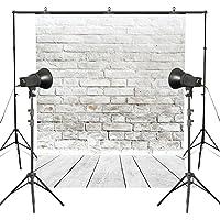 MUEEU 8x8ft Brick Wall Backdrop Wallpaper White Wooden Floor Photography Vinyl Fabric Digital Printed Portrait Birthday Wedding Photo Backgrounds for Studio Props