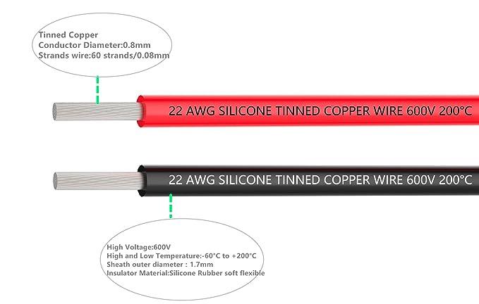 22 Gauge Silikon Elektrische Leitungen, Hochtemperaturbeständig ...