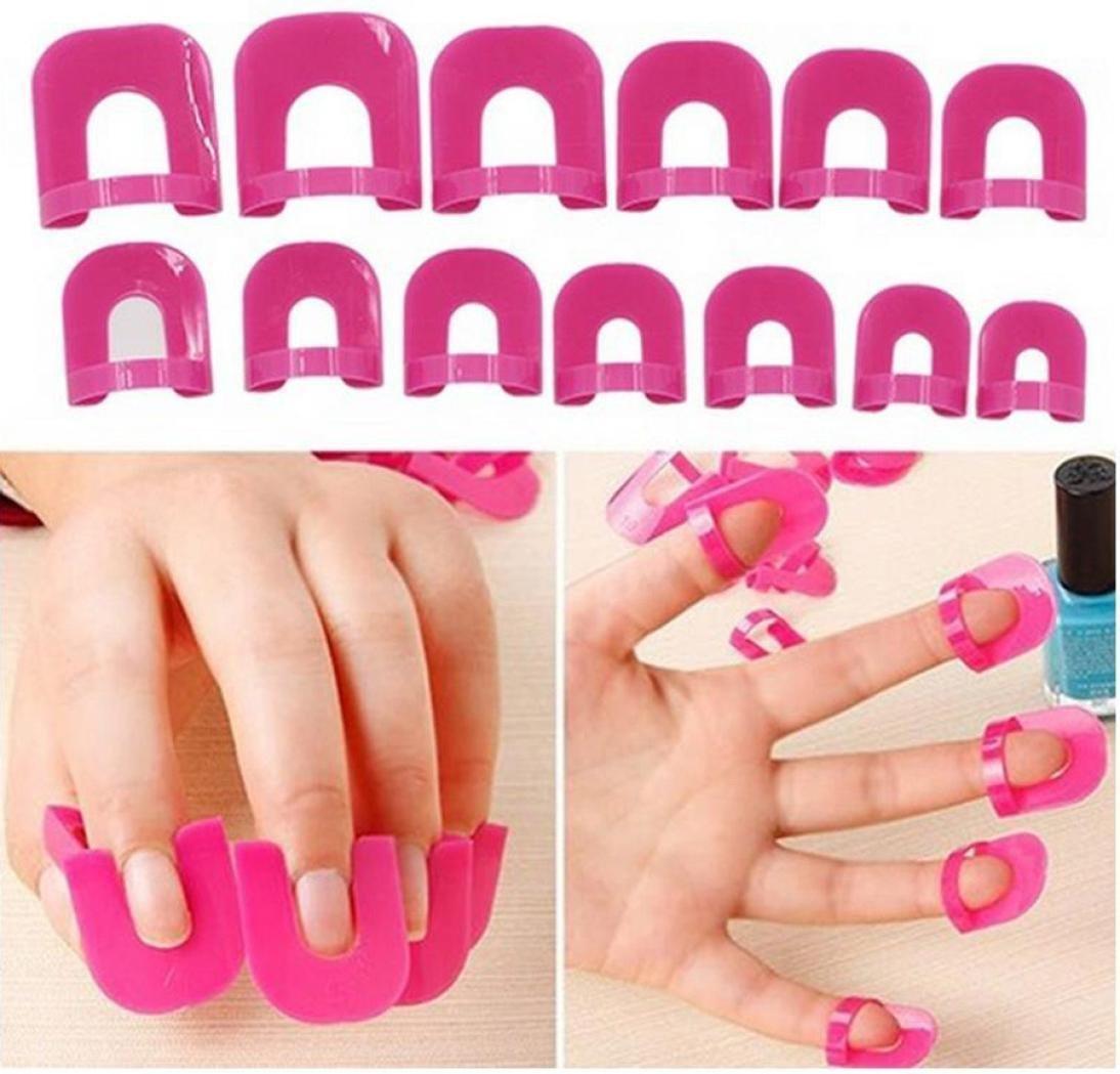 IGEMY New Arrival 26x Nail Polish Edge Anti-Flooding Plastic Template Clip + 1 Pc Sticker Tool Set (Hot Pink)