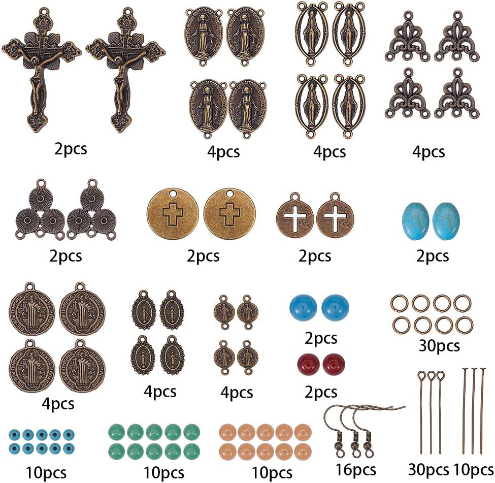 SUNNYCLUE DIY 8 Pairs Miraculous St Benedict Medal and Crucifix Earring Making Kit Supplies Women Adults Beginners,Antique Bronze