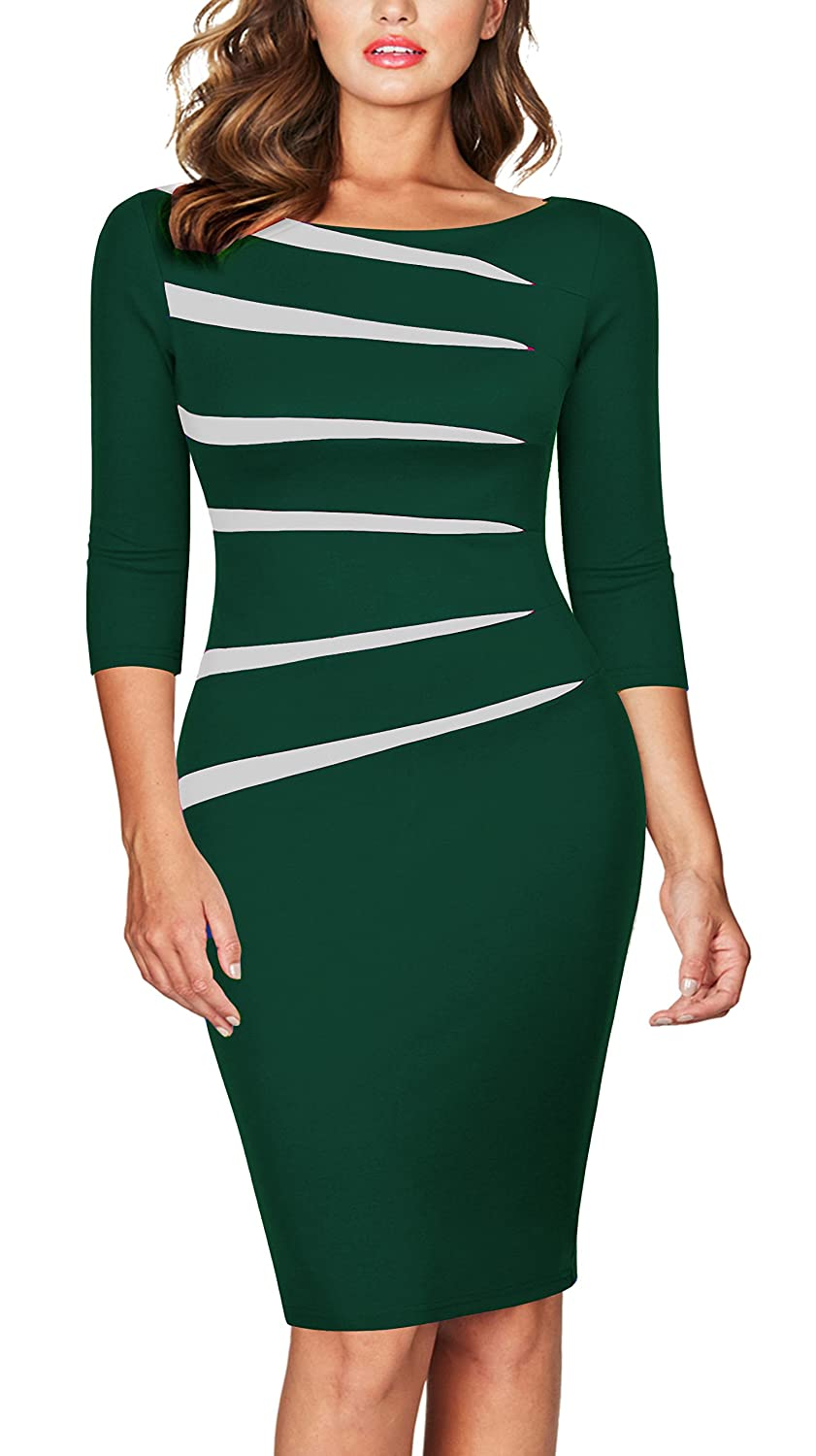 FORTRIC Women Slim Stitching Bodycon Business Wear to Work Party Pencil Dress FORT106