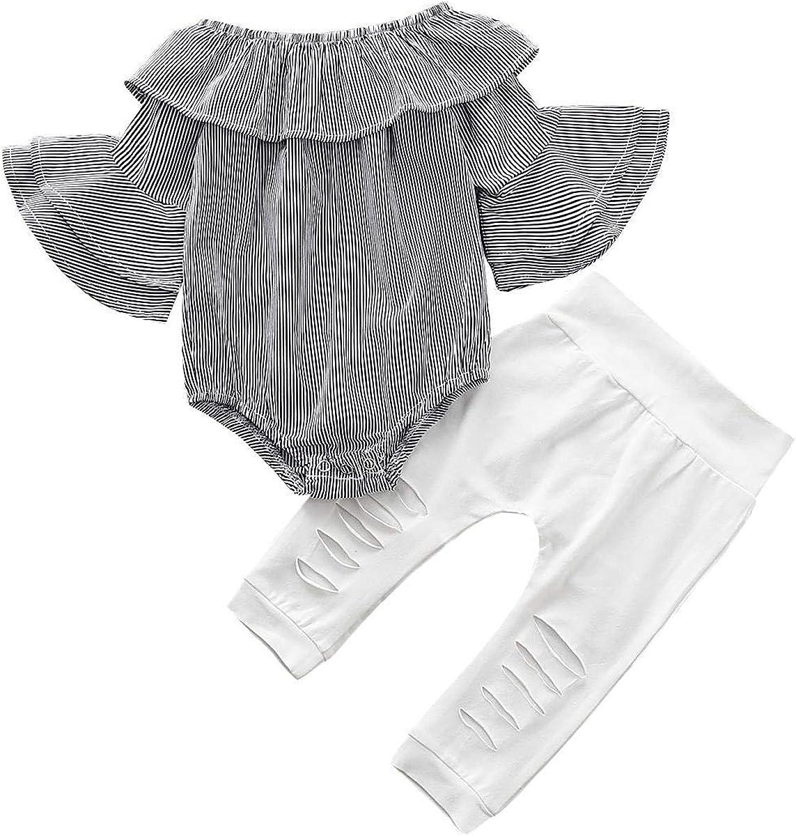 Miyanuby Baby M/ädchen Baumwolle Sommer Strampler Rundhalsausschnitt Blumen Bodysuit Casual Outfits Kleidung