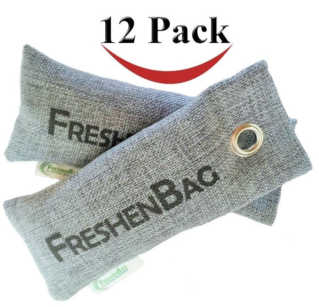 12 Pack - Freshenbag All Natural Air Freshener - Eco Friendly Odor Eliminator and Moisture Absorber - Activated Bamboo Charcoal For Use As Shoe Deodorizer, Car, Closet or Room Air Purifier