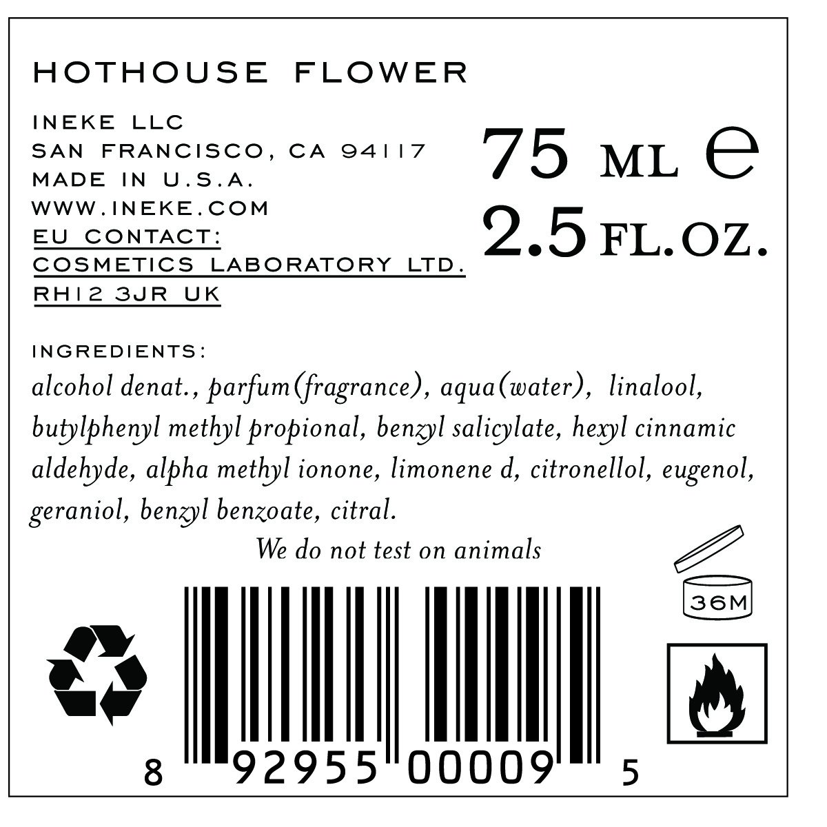 INeKE Hothouse Flower 75ml 2.5 oz eau de parfum