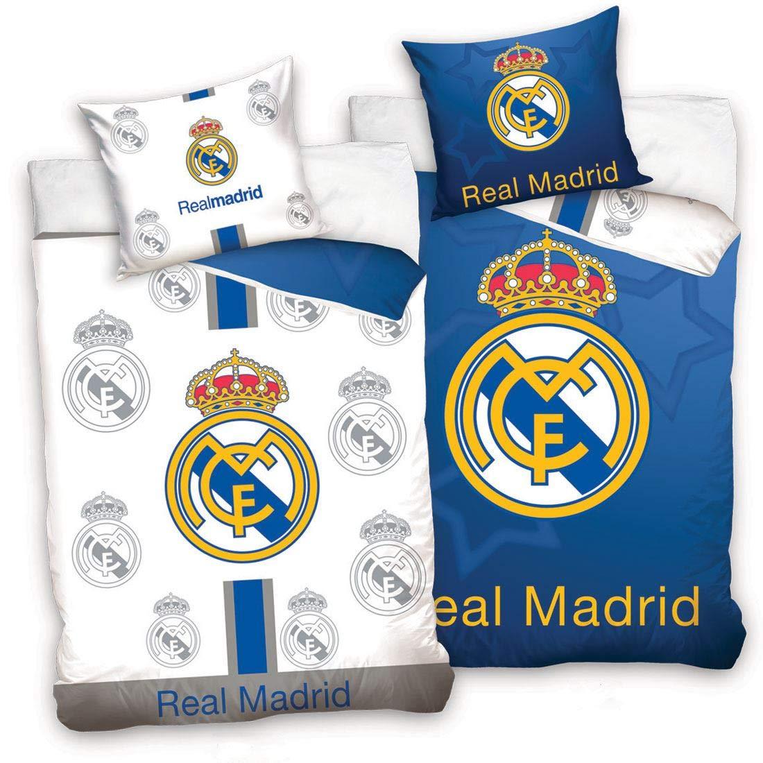 Color Azul y Blanco Real Madrid CF Juego de Funda n/órdica y Funda de Almohada Reversible