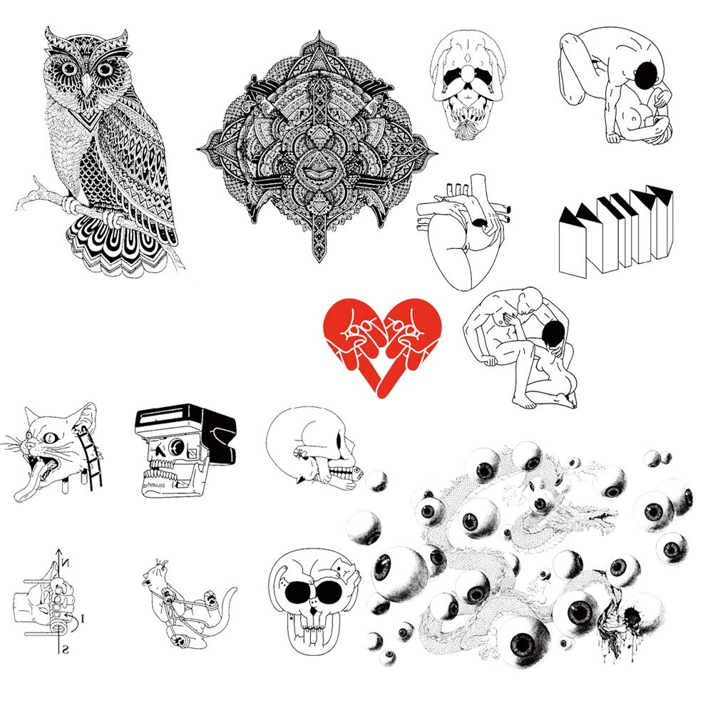 15 Creative Design Temporary Tattoos by Inktells 2020 new,Waterproof fake tattoos for Women Men Adult Kids Boys Girls,Neck Back Arm Hand Stickers about Amimal Cat Skull Owl Eyes Dragon(4 sheets)