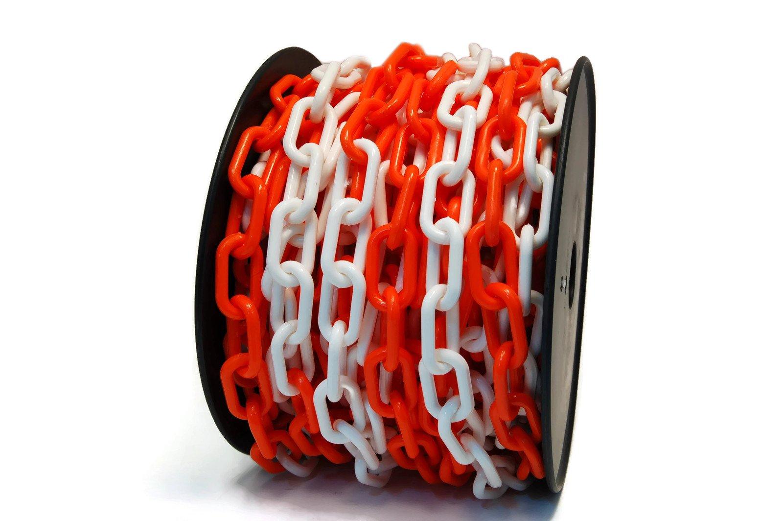 (50ft) 1/4 Inch Orange/White Neon Plastic Chain on Spool (IIT 51000)