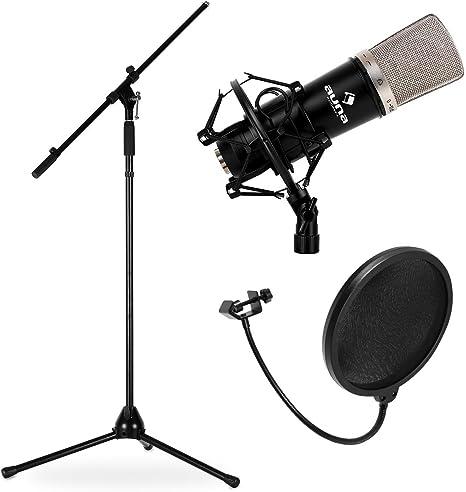 Electronic star Pack Micrófono estudio (micro condensador, frecuencia 20hz 20khz, soporte araña, protector anti-pop): Amazon.es: Instrumentos musicales