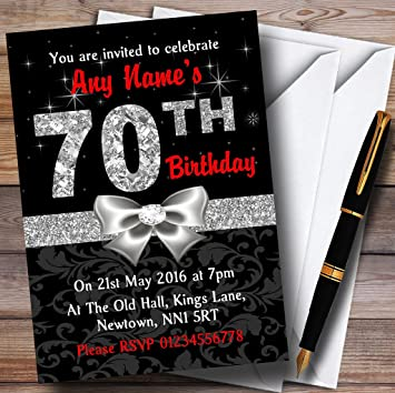 10 X Red Black Silver Diamond 70Th Birthday Party Customized Invites