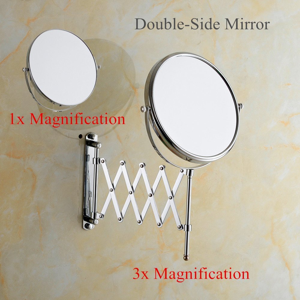 Cavoli 6 Inches Double-sided Wall Mount Scalable Mirror with 3x Magnification,Chrome Finish(6 inch,3x) by Cavoli (Image #5)