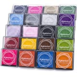 Craft Finger Ink Pad 20 Colors, Craft Ink Pad Stamps Partner DIY Color, Rainbow Washable Stamp Pads Set for Rubber Stamps Partner Color Card Making and Kids DIY Scrapbooking, (Pack of 20)