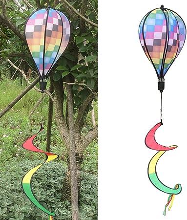 Air Balloon Wind Spinner Rainbow Fabric Windsock Striped Outdoor Yard Decor Hot