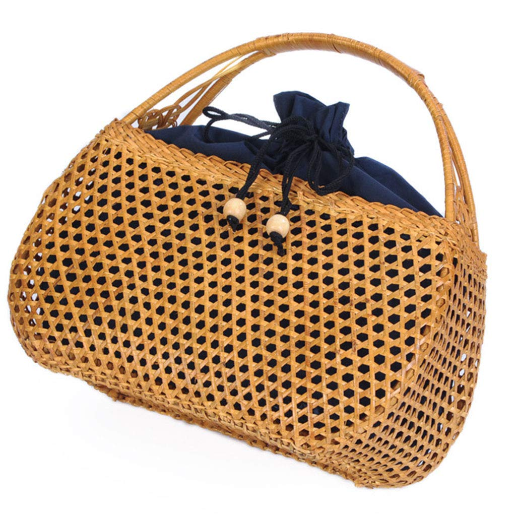 Women's Bag, Handbag - Rattan Woven Bag - Tea Ceremony Zero with Shopping Basket - Tea Set Storage Bag - Daily Retro Handbag by BHM (Image #1)