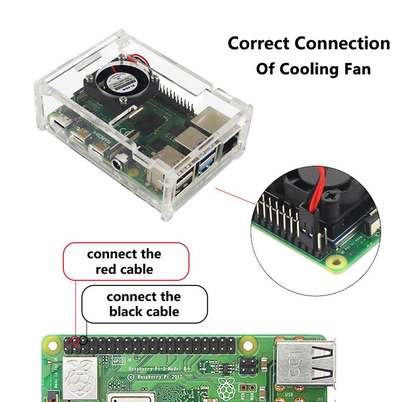Pudincoco para Raspberry Pi 4 Modelo B carcasa ABS material con ventilador Color cl/ásico Estuche para Raspberry Pi Estuche acr/ílico