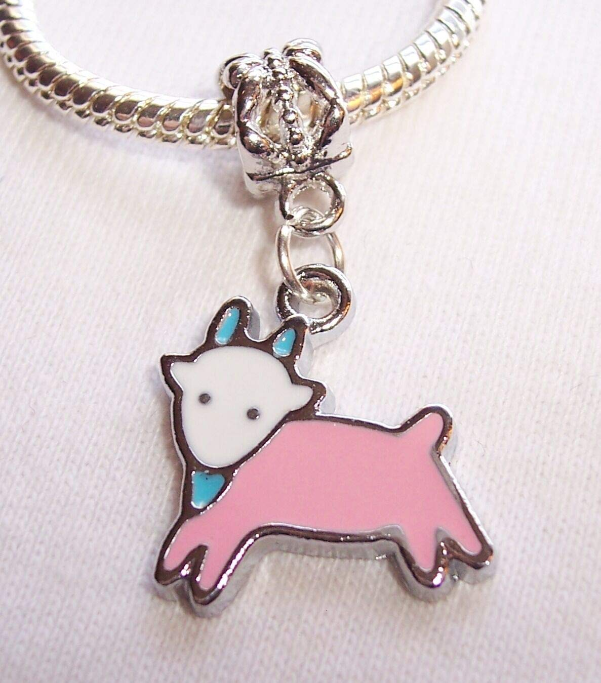 Zodiac Capricorn The Goat Pink Enamel Dangle Bead for European Charm Bracelets id-2264
