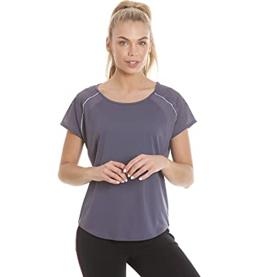 Camille Ex Highstreet Womens Dark Gray Short Sleeve Ventilated Sports Top