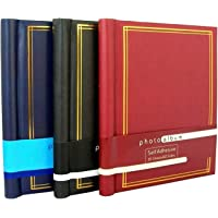 Anker Self-Adhesive Photo Albums with 20 Sheets/40 Sides each, Black/Red/Blue, Large, Pack of 3