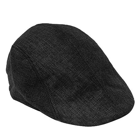 3f2c6fc3d5962 Beetest-EU-Unisex Men Women Linen-textured Pure Color Flat Peak Beret Cap  Hat Black  Amazon.co.uk  Kitchen   Home