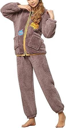 Mujer Pijamas Mujer Otoño Invierno Encapuchado Conjunto De ...