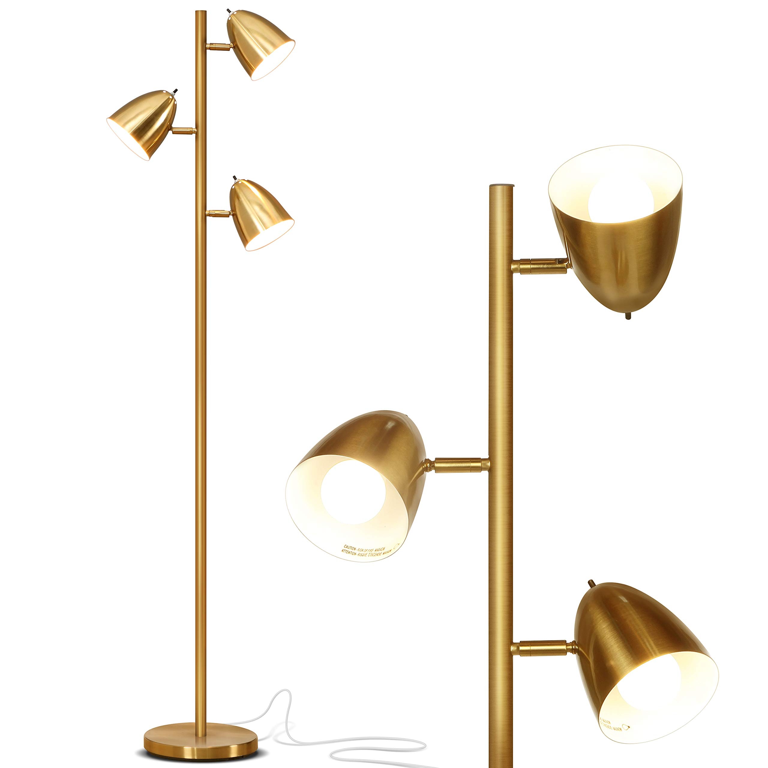 Brightech Jacob - LED Reading and Floor Lamp for Living Rooms & Bedrooms - Classy, Mid Century Modern Adjustable 3 Light Tree - Standing Tall Pole Lamp with 3 LED Bulbs - Antique Brass/Gold by Brightech (Image #1)