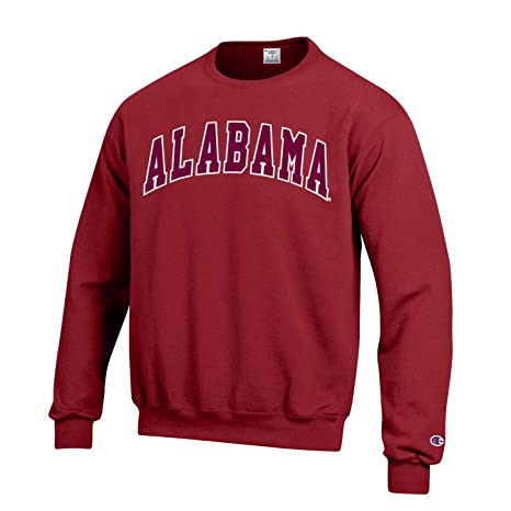 Champion NCAA Men s ECO Power Blend Crew Sweatshirt with Tackle Twill  Embroidered Lettering-Alabama Crimson 7b8960a60