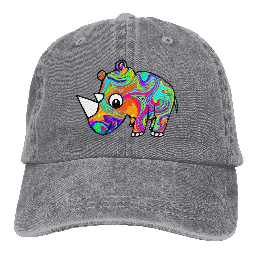 Fun Life Art Rhinoceros Unisex Adult Denim Dad Baseball Hat Sports Outdoor Cowboy Cap for Men and Women