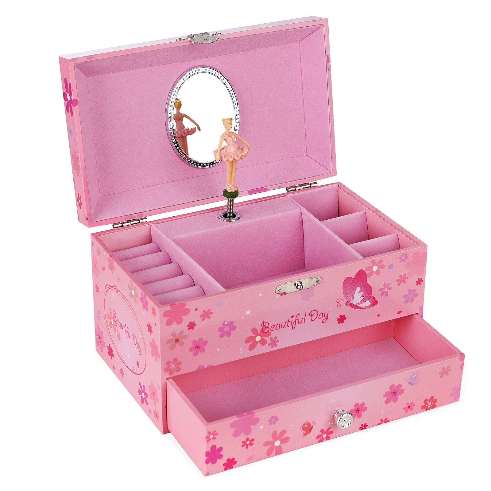 SONGMICS Ballerina Musical Jewelry Box Girls Jewel Storage Case UJMC003