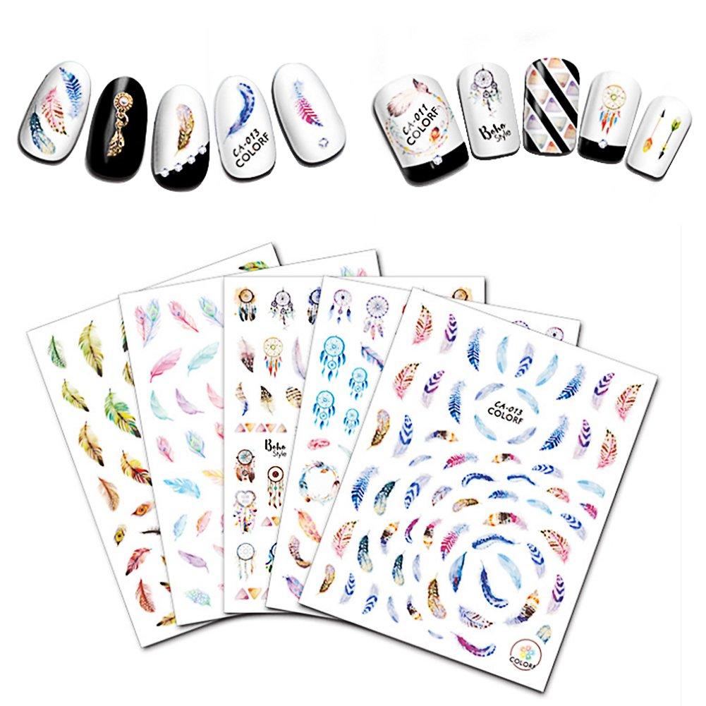 aiuin 5ST hojas Nail Art Pegatinas Pequeño atrapasueños recién estilo Nail Art Pegatinas Pegatinas Nail Tips Decoración