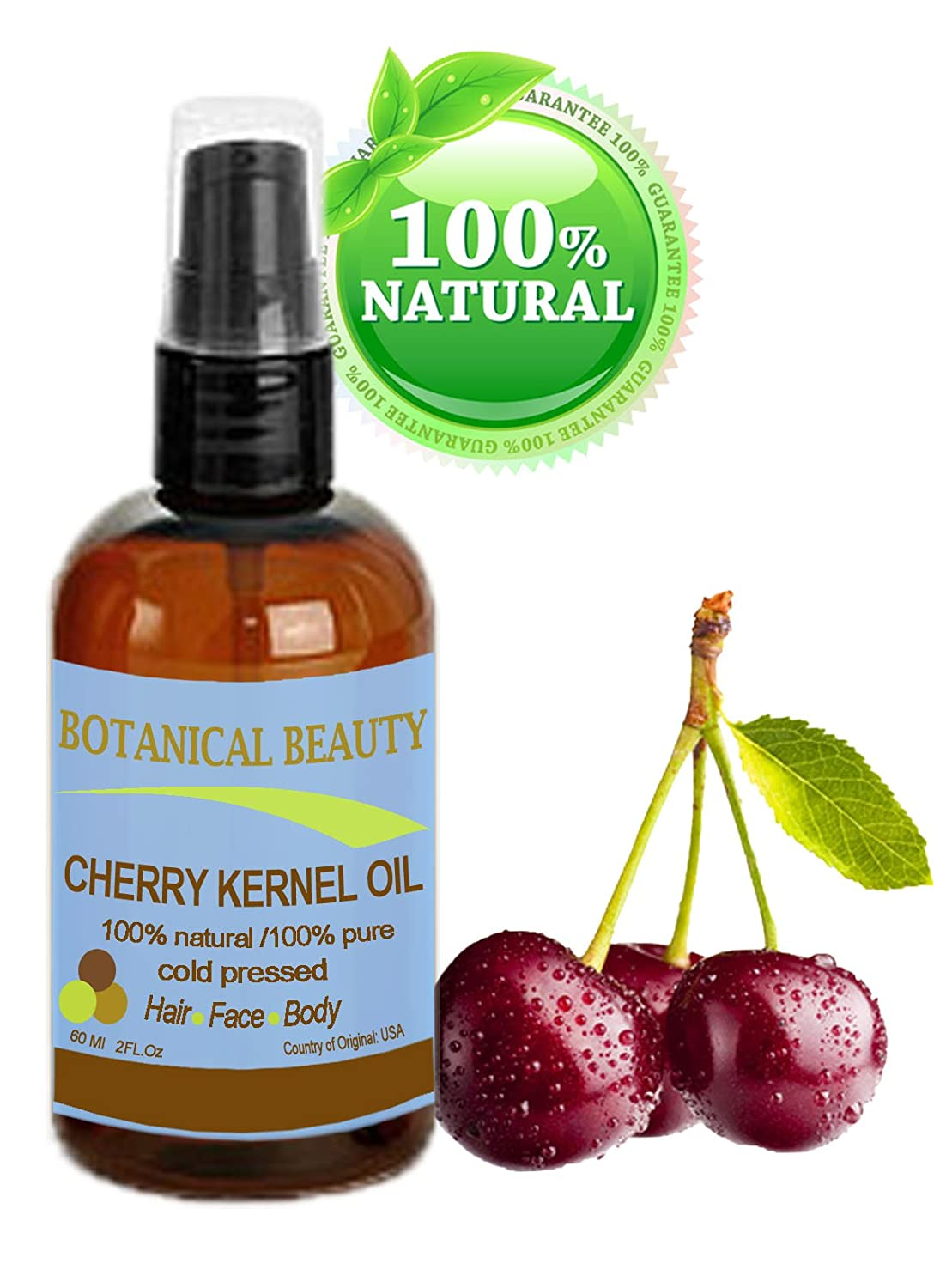 Botanical Beauty CHERRY KERNEL OIL, 100% Pure/100% Natural, For Face, Hair and Body, 2 oz- 60 ml