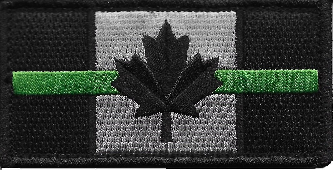 Thin Green Line Canada Flag Patch for Park Rangers and Environment Services with Hook/Loop Backing Pennant Patches
