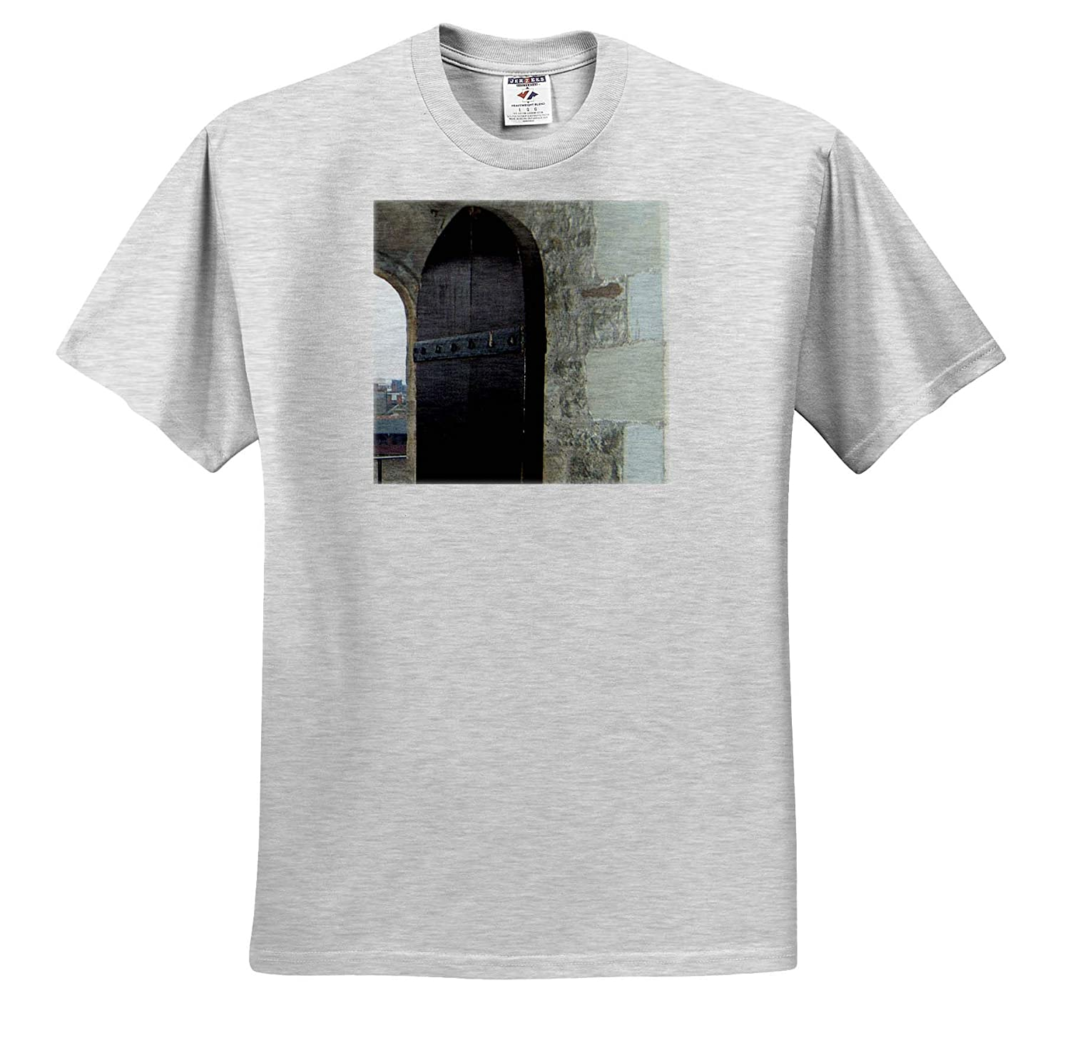 3dRose Jos Fauxtographee an Old Door on Wales in Dark Brown with Brick Surrounding it T-Shirts Wales Old Door