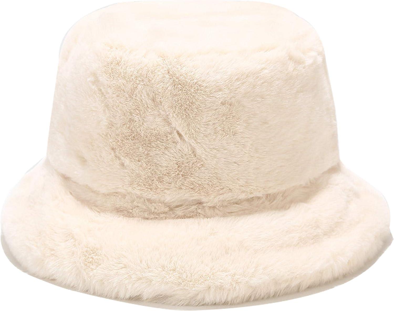 Fashion Women Fluffy Plush Bucket Hat Solid Warm Faux Fur Fisherman Cap Decor