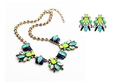 Isajewelry Fashion Colorful Flower Statement Necklace Rhinestone Muticolor Rope Chunky Bubble Bib Women Jewelry Fh0QD
