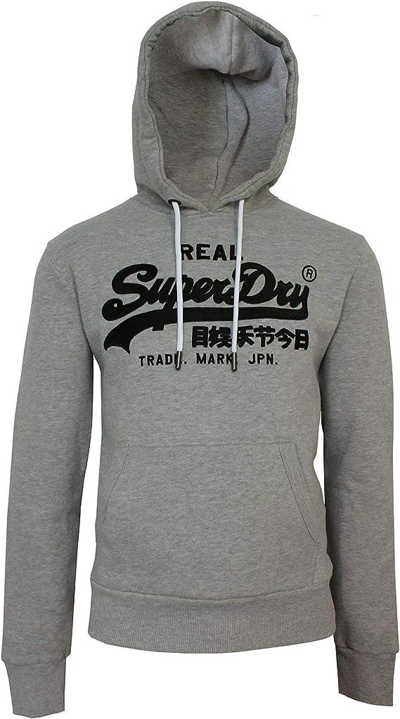 New Mens Superdry Mens Vintage Logo Zip Hoodie Grey Marl