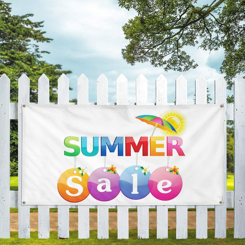 Vinyl Banner Multiple Sizes Summer Sale Business E Business Outdoor Weatherproof Industrial Yard Signs White 8 Grommets 48x96Inches