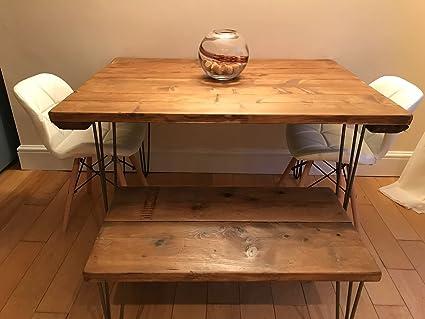 Tavoli Da Cucina Shabby Chic : Tavolo da pranzo industriale forcina con gambe in legno riciclato