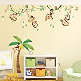 Decowall DA-1507 Monkeys on Vine Kids Wall Decals Wall Stickers Peel and Stick Removable Wall Stickers for Kids Nursery Bedroom Living Room
