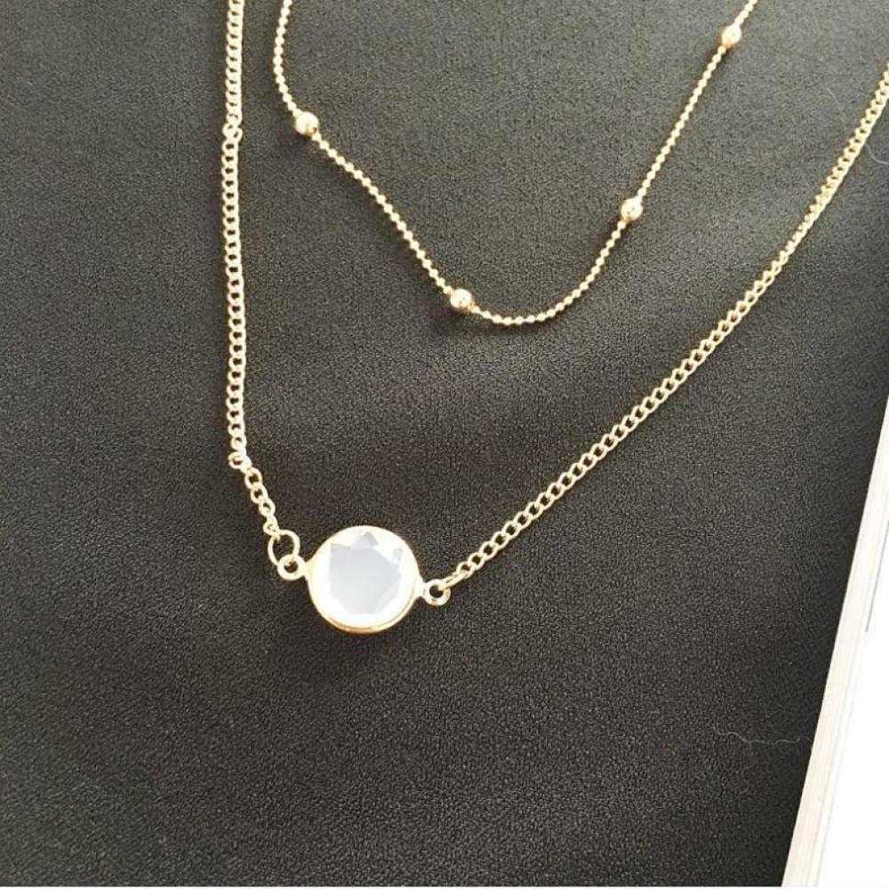 Colgante de Piedras Preciosas Simples Cadena de Cuentas Redondas Cadena de clavícula Doble Collar Corto para Mujer