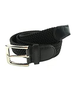 MYB Cintura elastica intrecciata per Uomo e Donna - diversi colori e dimensioni (105 - 110 cm, Nero)