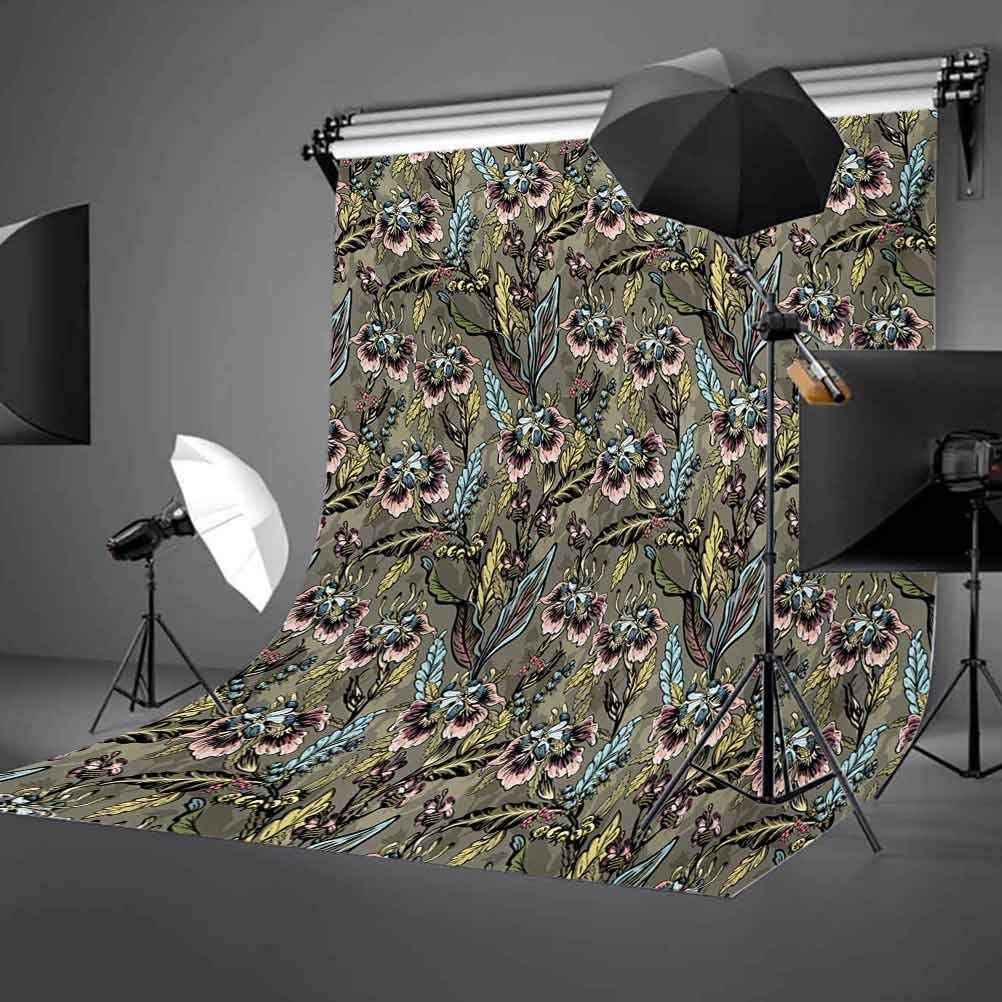 8x10 FT Photo Backdrops,Abstract Lined Background with Pastel Leaves and Flowers Retro Inspirations Background for Kid Baby Boy Girl Artistic Portrait Photo Shoot Studio Props Video Drape Vinyl