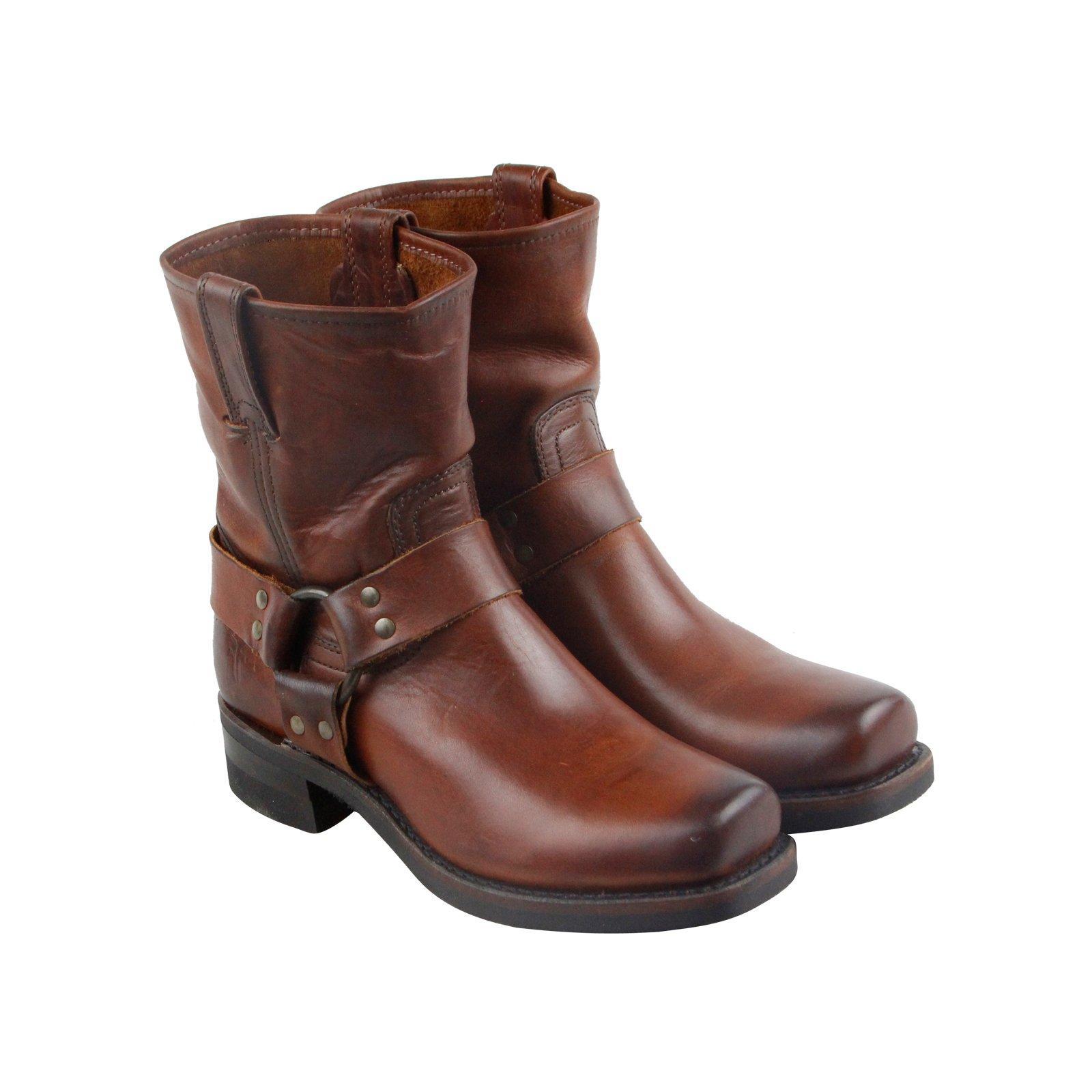 FRYE Men's Harness 8R Harness Boot, Cognac Soft Vintage Leather, 7.5 M US