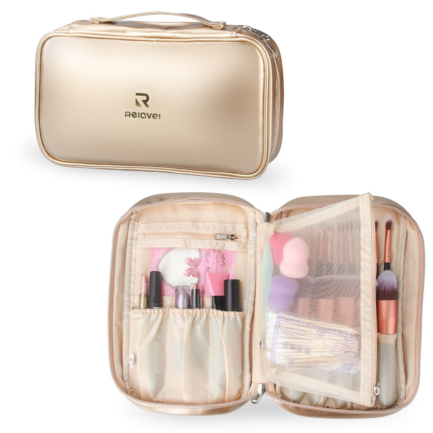 Relavel Professional Cosmetic Case Makeup Brush Organizer Makeup Artist Case with Belt Strap Holder Multi functional Cosmetic Bag Makeup Handbag for Travel Home Gift (Champagne Gold)