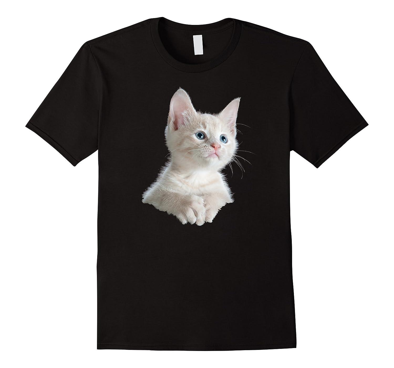 Animal View T-Shirts Cute White Kitten Humor TShirt-CD