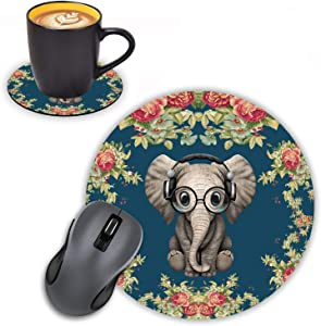 Log Zog Round Mouse Pad with Coasters Set, Floral Background Cute Elephant Design Mouse Pad Non-Slip Rubber Mousepad Office Accessories Desk Decor Mouse Pads for Computers Laptop