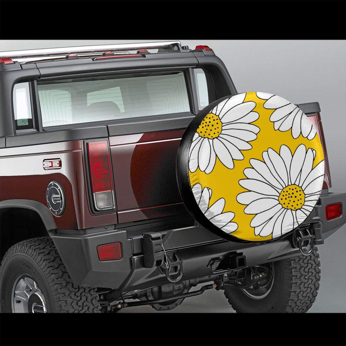 SUV Trailer Accessories15(Diameter 27-29 Becmd Yellow and White Daisies Universal Spare Wheel Tire Cover Fit for Truck Camper Van,Jeep,Trailer RV