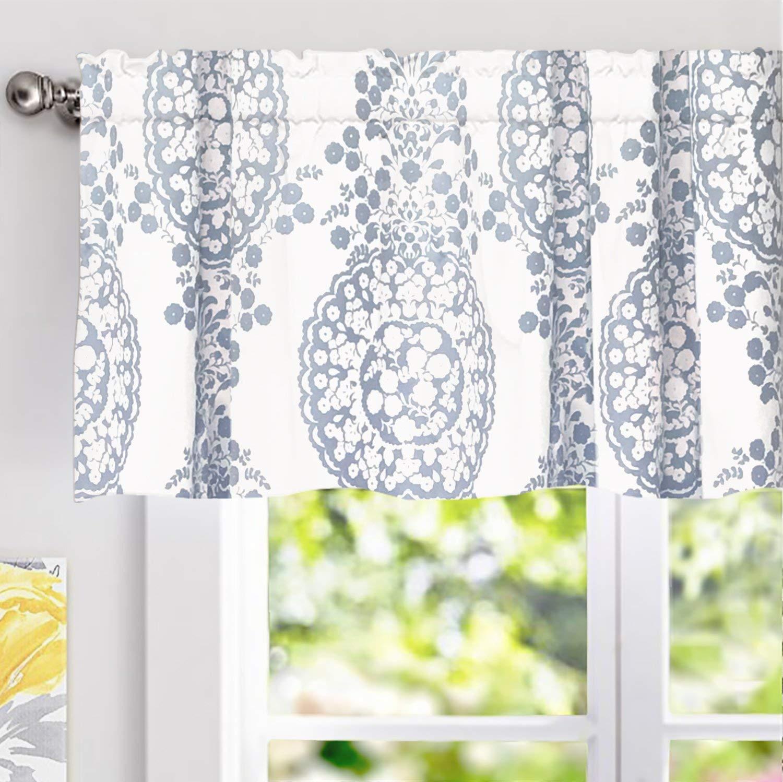 "DriftAway Samantha Window Curtain Valance, Floral/Damask Medallion Pattern, Rod Pocket, 52""x18"" (Blue)"