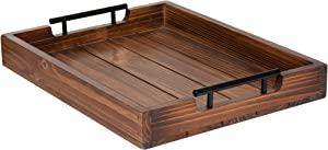 Wood Serving Tray with Handles - 17 Inch Premium Rustic Tray for Coffee Table, Ottoman & Living Room - Tv Trays for Eating Breakfast In Bed - Wooden Tray for Ottoman by Cozy Décor